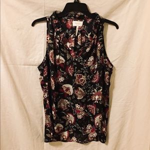 Black & Maroon Sleeveless Blouse.